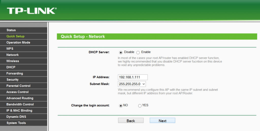 Disable DHCP