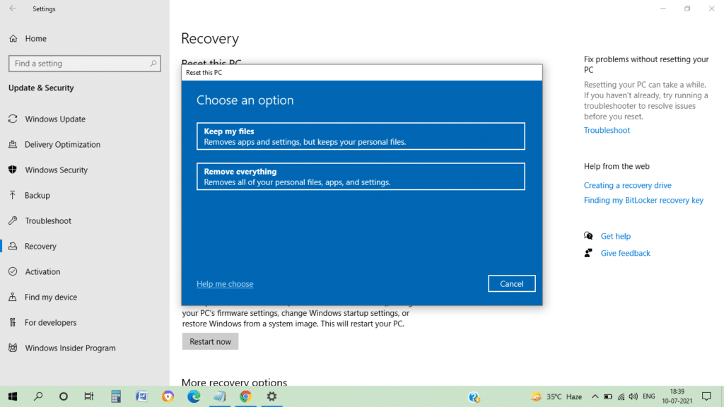 How to factory reset a laptop