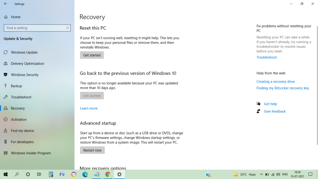 Recovery option in Windows